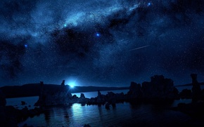 Picture the sky, stars, clouds, river, the moon, Night