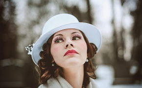 Picture girl, hair, beauty, hat, lips, white hat