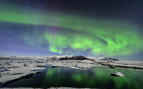 Picture mountains, Northern lights, ice, ice, Iceland, Iceland, Glacial Lagoon