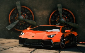 Picture Lamborghini, Lamborghini, Orange, Orange, Supercar, LP700-4, Aventador, Aventador, Supercar, 3D Graphics, by Wickdart, Fans