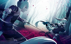 Picture girl, weapons, anime, art, guy