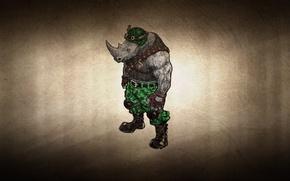 Picture clothing, pomegranate, Rhino, TMNT, Teenage Mutant Ninja Turtles, Rocksteady, dark background