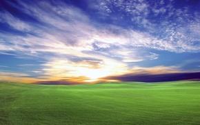 Wallpaper field, the sky, the sun, sunset