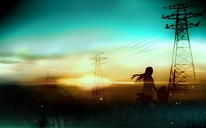 Picture girl, landscape, sunset, bike, wire, art, power lines, rushka