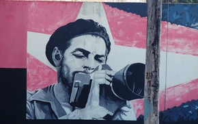 Picture graffiti, photographer, che Guevara, Cuba, the camera, the pictures on the wall
