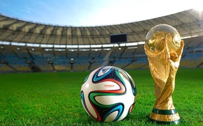 Picture lawn, football, the ball, tribune, stadium, Cup, Brazil, the world Cup, 2014, brazuca