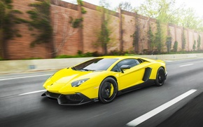 Picture road, auto, yellow, speed, lamborghini aventador, machine., LP-720