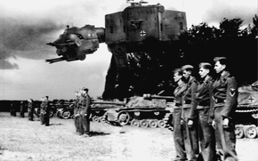 Picture robot, black and white, soldiers, Star Wars, Reich