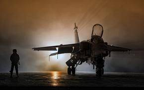 Wallpaper light, Jaguar, pilot, the airfield, fighter-bomber, SEPECAT