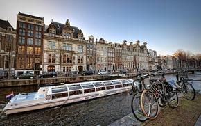 Picture bike, boat, ship, home, channel, Amsterdam, nederland, amsterdam, Netherlands