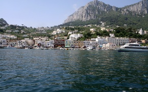 Picture sea, forest, the sky, mountains, nature, the city, photo, home, yacht, Italy, Capri