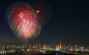 Picture salute, Japan, Tokyo, Tokyo, Japan, fireworks, Odaiba