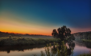 Picture the sky, sunset, fog, river, shore, Istra