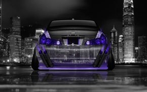 Picture Neon, Machine, Nissan, Wallpaper, City, Nissan, Purple, Photoshop, Photoshop, Neon, Tuning, Back, Violet, JDM, 2014, …