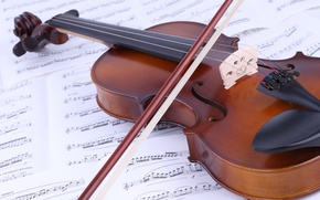 Picture notes, music, violin, book