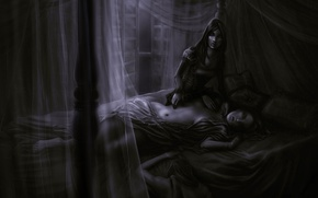 Picture emotions, girls, room, bed, window, art, black and white, the corpse, tulle, monochrome, death, Gina ...
