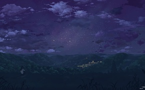 Picture the sky, girl, stars, clouds, trees, night, nature, the city, lights, home, anime, art, form, …