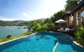 Picture pool, ocean, luxury, Villa, palms