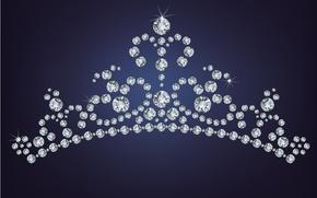 Picture background, crown, rhinestones, pebbles