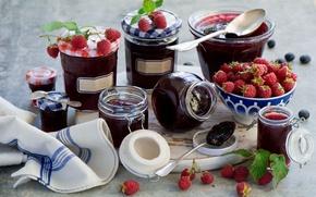 Picture berries, raspberry, banks, jam