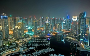 Picture the sky, night, lights, home, Bay, yachts, boats, megapolis