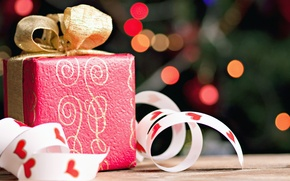 Wallpaper gift, box, gift, holidays, gold, red, tape, bokeh, bow