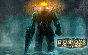 Wallpaper The suit, Sea of Dreams, Lights, BioShock 2