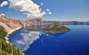 Picture lake, island, crater
