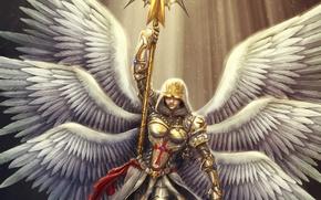 Picture eyes, girl, wings, cross, art, hood, staff, Crusader