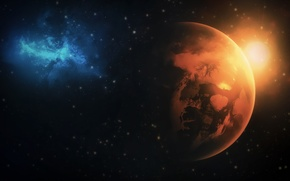 Picture fire, blue, planet