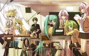 Picture girls, wire, headphones, art, glasses, book, form, laptop, class, guys, vocaloid, hatsune miku, megurine luka, …