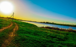Picture the sky, the sun, Road, weed, green, photography Tanya Batrak