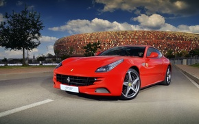 Picture Road, Red, Ferrari, Ferrari, Red, Supercar