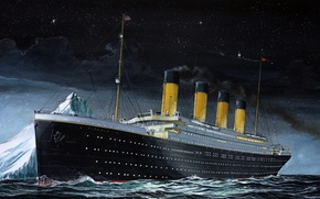 Picture The sky, Sea, Night, Figure, Liner, Iceberg, Titanic, The ship, Titanic, The time, Passenger ship, ...