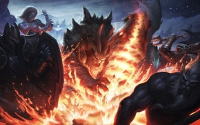 Wallpaper Dragon Knight, Davion, Phantom Lancer, dota 2, Slayer, Azwraith, Lina
