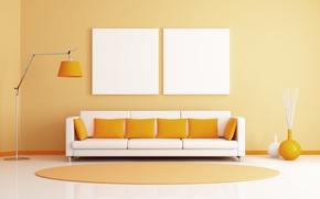 Picture lamp, room, sofa, pillow, Mat