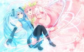 Wallpaper snowflakes, girls, Sakura, vocaloid, hatsune miku, Vocaloid, cherries, sakura, mike