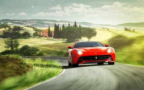 Picture hills, Ferrari, red, Ferrari, red, front, Berlinetta, Berlinetta, F12