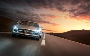 Picture Mercedes-Benz, Speed, AMG, Sun, SLS, Mountain, Sunset, Sport, Road, Vehicle, Trip, Speeding, Transportation, Motor