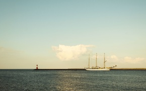 Picture sea, the sky, shore, lighthouse, ship, sailboat, cloud