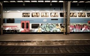 Wallpaper the car, graffiti, train