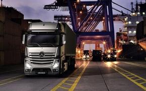 Picture crane, port, Mercedes, cargo, Actros