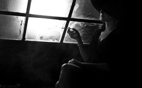 Picture light, woman, smoke, black and white, window, cigarette, neckline, hat, Noir