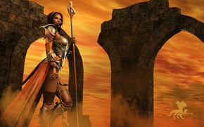 Wallpaper the sky, girl, rendering, armor, warrior, chain, staff