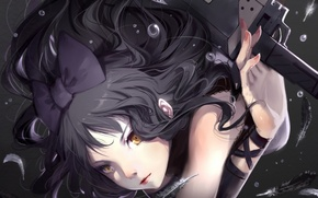 Picture girl, bubbles, weapons, anime, feathers, art, bow, rwby, blake belladonna, cici