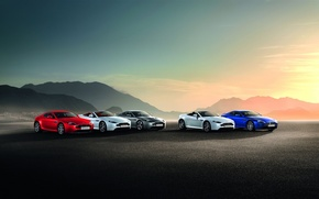 Picture Aston Martin, BLUE, BACKGROUND, WHITE, MOUNTAINS, GREY, COLOR, RED, SUNSET, METALLIC