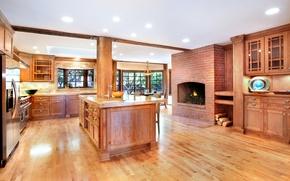 Picture design, photo, interior, kitchen, fireplace