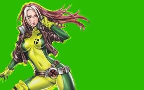 Wallpaper look, hair, art, jacket, costume, belt, green background, Rogue, Marvel Comics, rascal