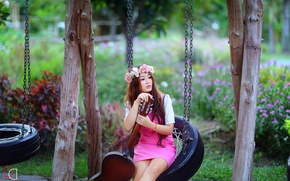 Picture girl, music, swing, guitar, Asian