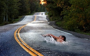 Wallpaper Asphalt, Swimmer, Road